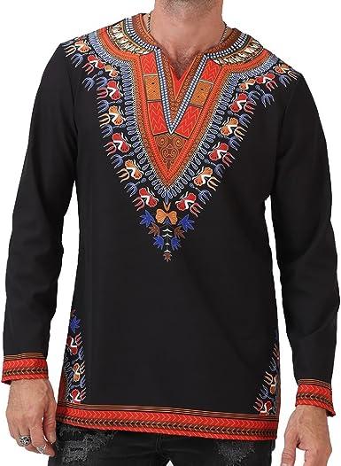 Camiseta Vintage De Manga Larga con Estampado Tribal Africano para Hombre Estampada Africana Dashiki