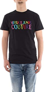 Versace Jeans Couture Men's Multicolored Embroidered Logo Shirt Black