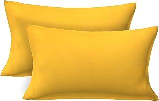 "Clasiko Cotton 250 TC Pillow Cover (Yellow_17""x27"")"