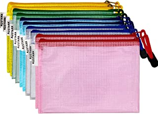 10Pcs Zipper File Bags, AUSTARK Waterproof Zipper Pouch, PVC Document Bag Zipper Folders Document Pouch Receipts Organizer for Office School Home Travel (B4 Size 15 x 11 Inches Mixed Colors)