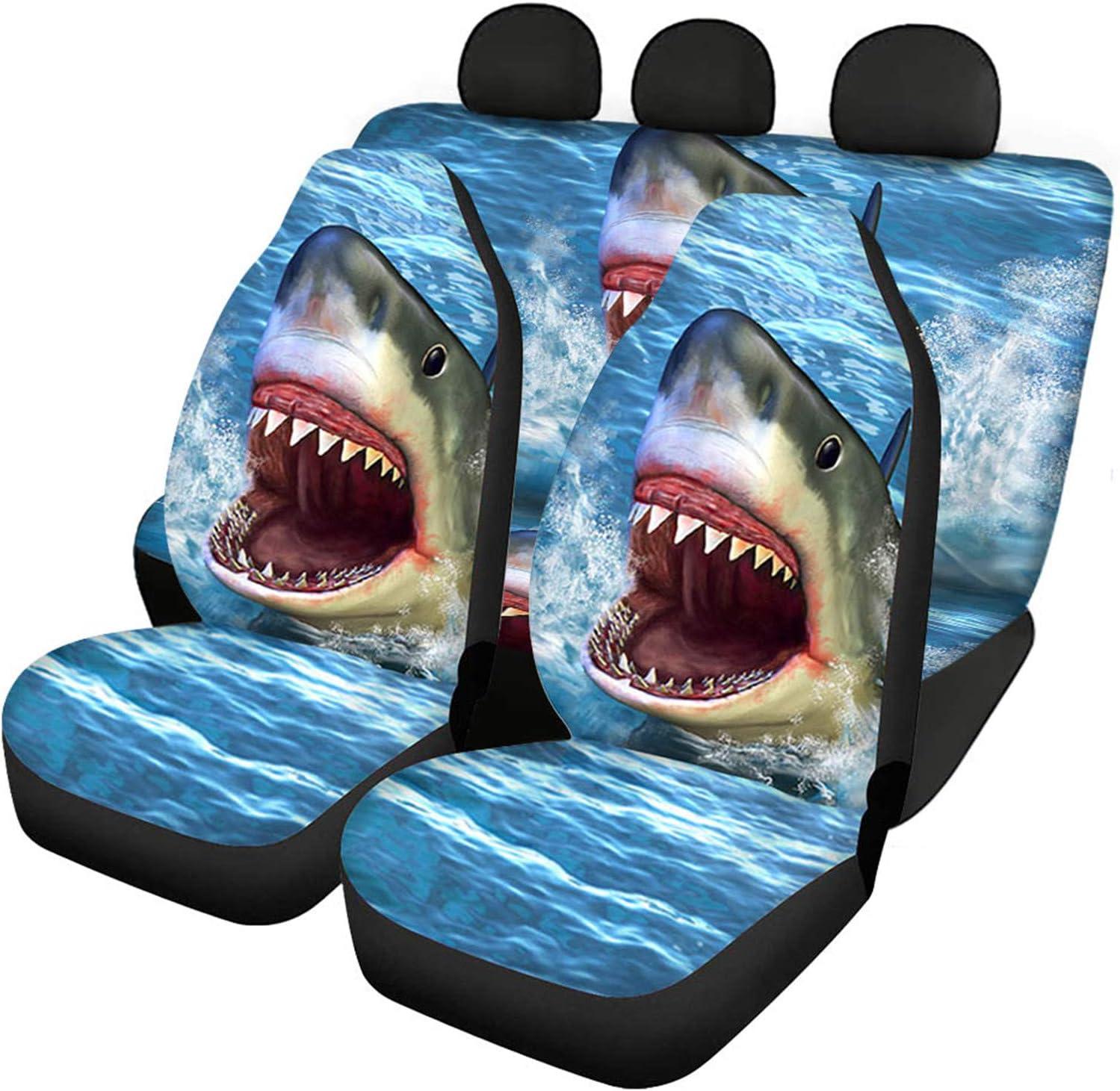 doginthehole 3 Piece Sea Sales for sale Animal Shark Car Pattern Oklahoma City Mall Covers Fu Seat