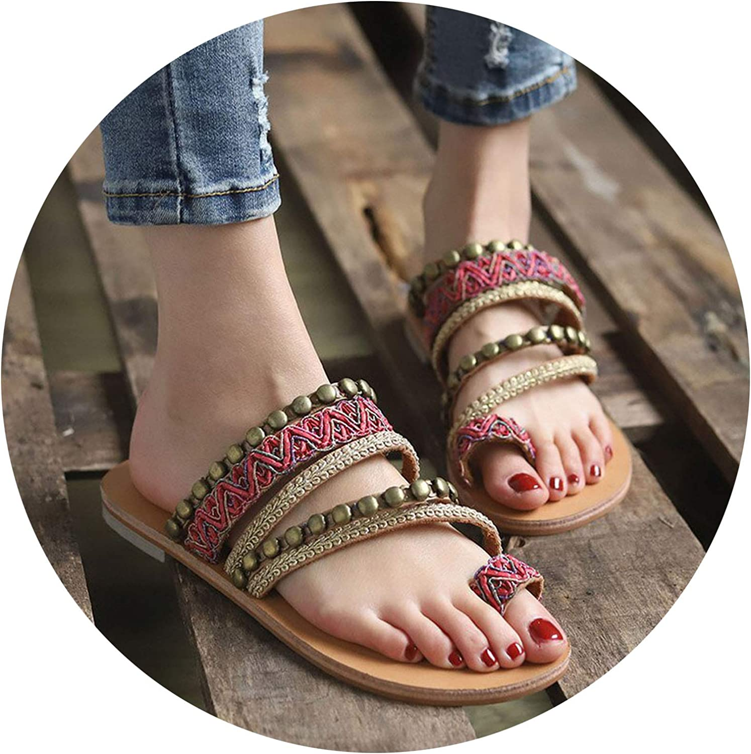 Summer Women's shoes Bohemian Gladiator Beach Flat Sandals