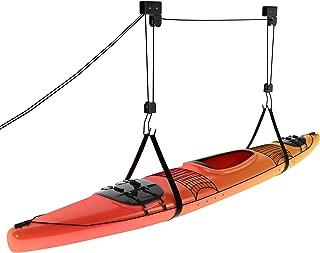 Kayak Ceiling Hoist - Overhead Garage Storage Rack for Kayak, Bike, Ladder, Canoe, Boat - Adjustable Hanger System with Hooks for Hanging & Pulley for Lifting
