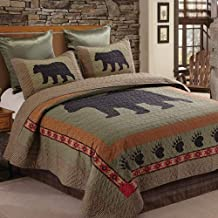 Duke Imports Virah Bella Collection - Phyllis Dobbs - 3 Piece Bear and Paw Patchwork Cabin Lodge Quilt Set - Full/Queen Size