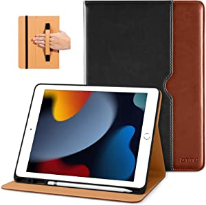 DTTO iPad 9th/8th/7th Generation 10.2 Inch Case 2021/2020/2019, Premium Leather Business Folio Stand Cover with Built-in Apple Pencil Holder - Auto Wake/Sleep and Multiple Viewing Angles, Black Brown