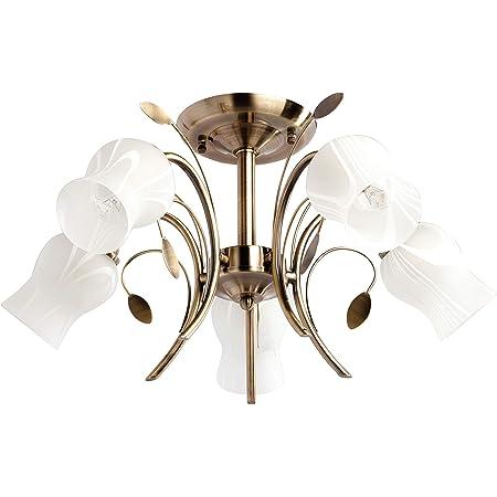 DeMarkt 256018205 Plafonnier Luminaire Floral à 5 Lampes en Métal couleur Bronze Antique Abat-jours Forme Fleurs en Verre Blanc Mat pour Chambre Salle à Manger 5x60W E14