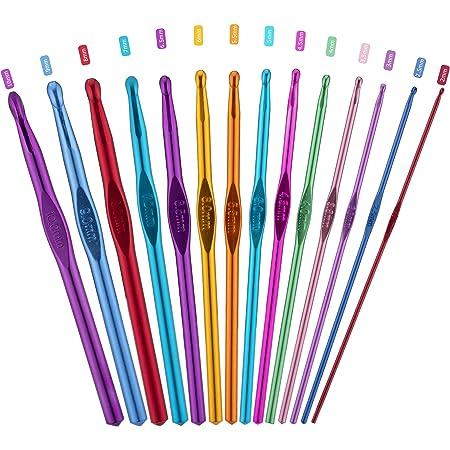 PROGARMENTS 14Pcs Aiguilles à Crochet Set, Crochet Hook Set Multicolore Poignée en Aluminium Tricot Outils pour Débutants et Professionnels