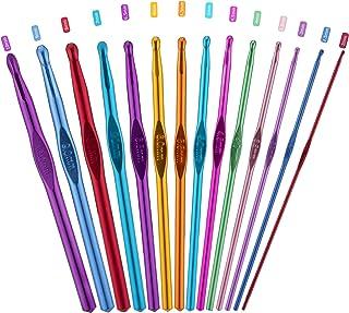 PROGARMENTS 14Pcs Aiguilles à Crochet Set, Crochet Hook Set Multicolore Poignée en Aluminium Tricot Outils pour Débutants ...