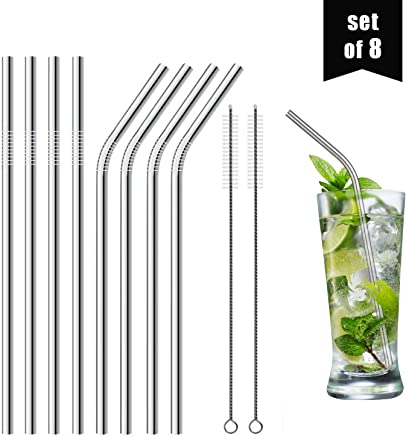 """Set of 8 Stainless Steel Straws, 8.5"""" (6mm x 215mm) - 316 Stainless Steel FDA-Approved - Reusable Metal Curved Drinking Straw for Smoothies & Tumblers (4 Straight + 4 Bent + 2 Cleaning Brushes)"""