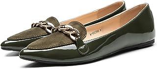 ASHLEY A فلورا أنيق براءات الاختراع بو مدبب راحة الانزلاق على الباليه أحذية مسطحة للنساء, (Olive.1), 38 EU