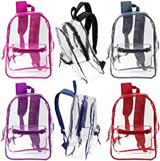 "24 Pack - 17"" Wholesale Deluxe Clear Backpacks - Bulk Case of Bookbags"