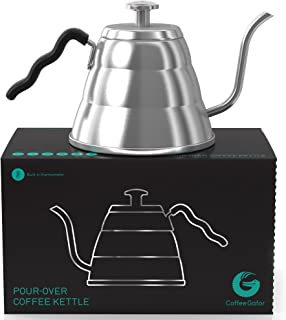 Coffee Gator Pour Over Kettle - Precision-Flow Gooseneck Spout and Thermometer - Brew Barista-Standard Hand Drip Coffee and Tea - Suitable for all Stovetops Including Induction - 34 Ounce