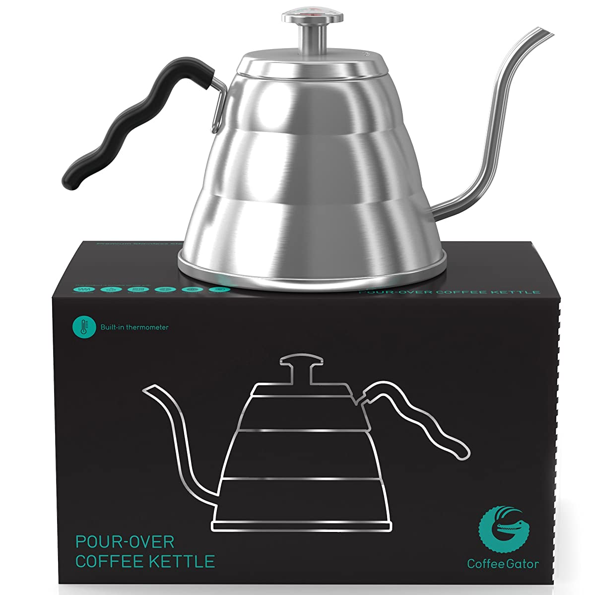 Coffee Gator Pour Over Kettle - Gooseneck Spout and Thermometer for Drip Coffee and Tea - 34floz