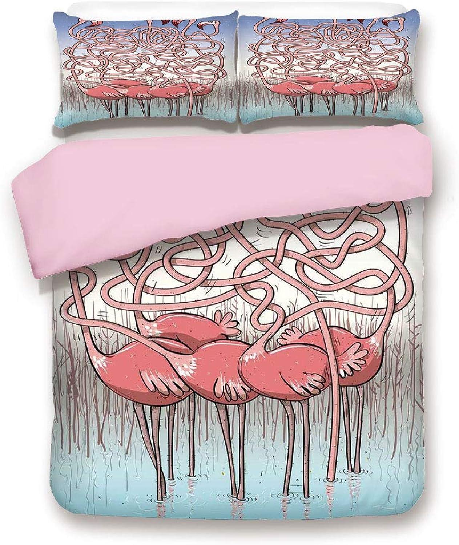 Pink Duvet Cover Set,Twin Size,Five Cute Flamingos Maze Game Joyful Animal Cartoon Reed Bed Water,Decorative 3 Piece Bedding Set with 2 Pillow Sham,Best Gift For Girls Women,Coral purple bluee Light Bl