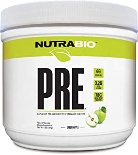 NutraBio PRE Natural (Green Apple) - Naturally Sweetened and Flavored Pre Workout