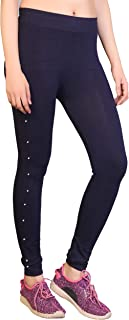 Raiter Black Polycotton Jegging with Side Stone Free Size-(26 inch to 32 inch Waist)
