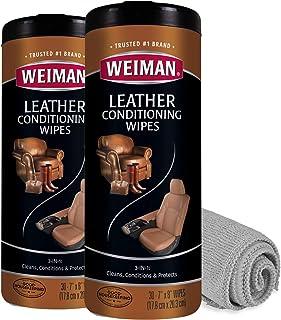دستمال مرطوب تمیز کننده چرم Weiman - 2 بسته با پارچه Microfiber - حفاظت از اشعه ماوراء بنفش UV به جلوگیری از ترک خوردن یا محو شدن مبلمان چرمی ، داخلی خودرو و کفش کمک می کند