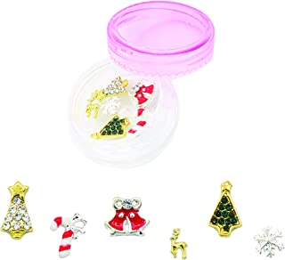 NAILDROBE 6 Christmas Holiday Nail Charms (Reindeer, Christmas Trees, Candy Cane, Snowflake, Bell) 2019 Edition PLUS Bonus Reusable Storage Jar