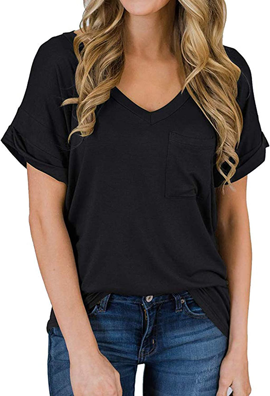 ECOWISH Women's Casual Tops V-Neck Shirts Loose Blouse Casual Basic Tee T-Shirt with Pocket