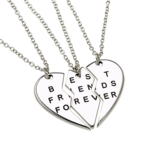 ISHOW Three Half Silver Tone Heart Best Friend Forever Engraved Long Pendant Necklace (3pcs)