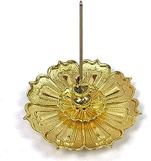 OTDCGI Copper Stick Incense Burner 3-in-1 Brass Incense Holder Ash Catcher Plate (Gold)