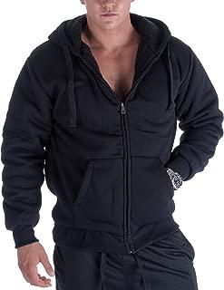 Heavyweight Hoodies for Men, 1.8lbs Sherpa Lined Fleece Full Zip Up Plus Size Winter Sweatshirts Jackets
