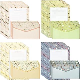 مجموعة من 72 قطعة من الورق المقوى والمظاريف ، 48 ورقة ورقة كتابة حروف A5 + 24 قطعة من الظرف، مجموعة قرطاسية جميلة من 4 أنماط