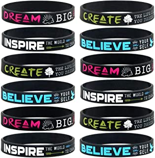 Captiva Mkt 12-Pack Dream, Believe, Inspire, Create Silicone Rubber Motivational Wristbands. Bulk Wholesale Pack of Unique Inspirational Bracelets for Men, Women, Teens, Teams, Gifts, Party Favors
