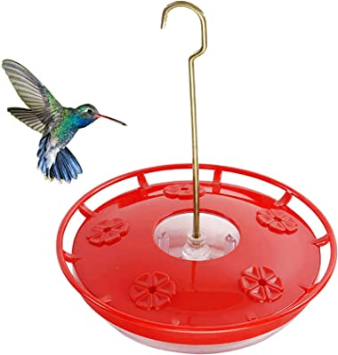 YOUJIA Hummingbird Feeder for Outdoors, 12 Ounce Hanging Flower Bird Feeder with 5 Feeding Port