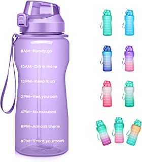 4AMinLA Motivational Water Bottle 2.2L/64oz Half Gallon Jug with Straw and Time Marker Large Capacity Leakproof BPA Free F...