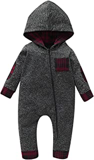 Infant Baby Boys Fall Outfit Plaid Pocket Hoodie Sweatshirt Romper Long Sleeve Bodysuit Winter Clothes Set