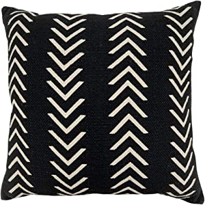 Fennco Styles Abstract Chevron Print Cotton Decorative Throw Pillow Cover & Insert 22 x 22 Inch - Black Pillow for Home, Couch, Living Room and Bedroom Décor