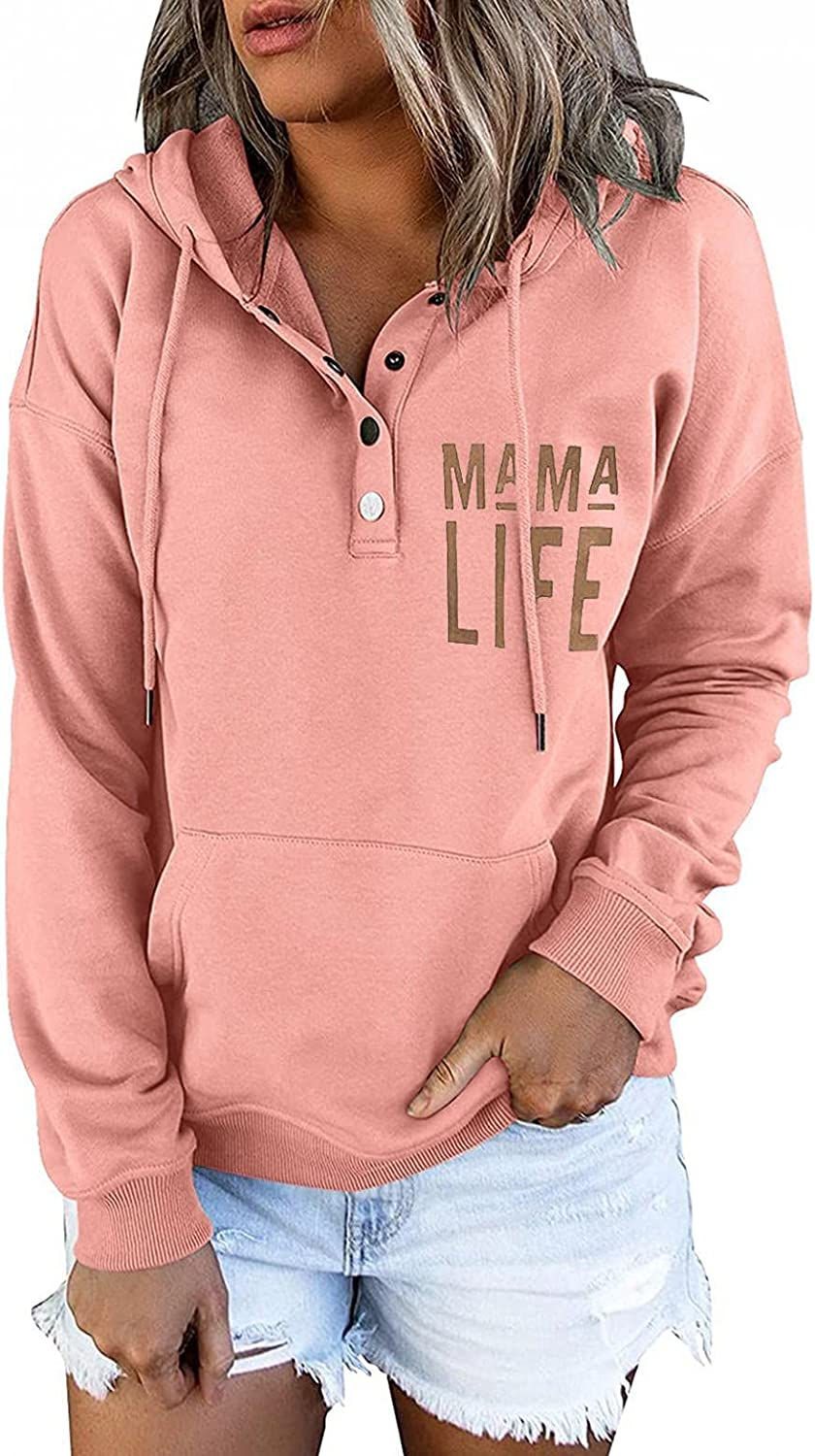 Hoodies for Women Pullover Tops Casual Button Down Long Sleeve Tops Drawstring Sweatshirts with Pocket