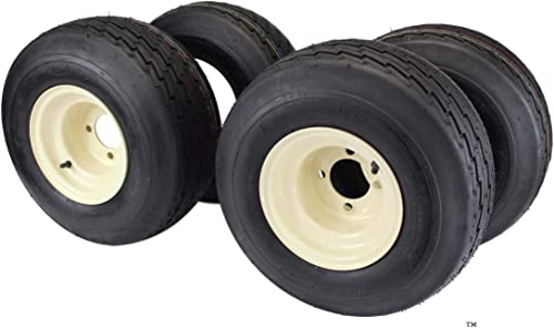18x8.50-8 with 8x7 Tan Wheel Assembly for Golf Cart and Lawn Mower (Set of 4)
