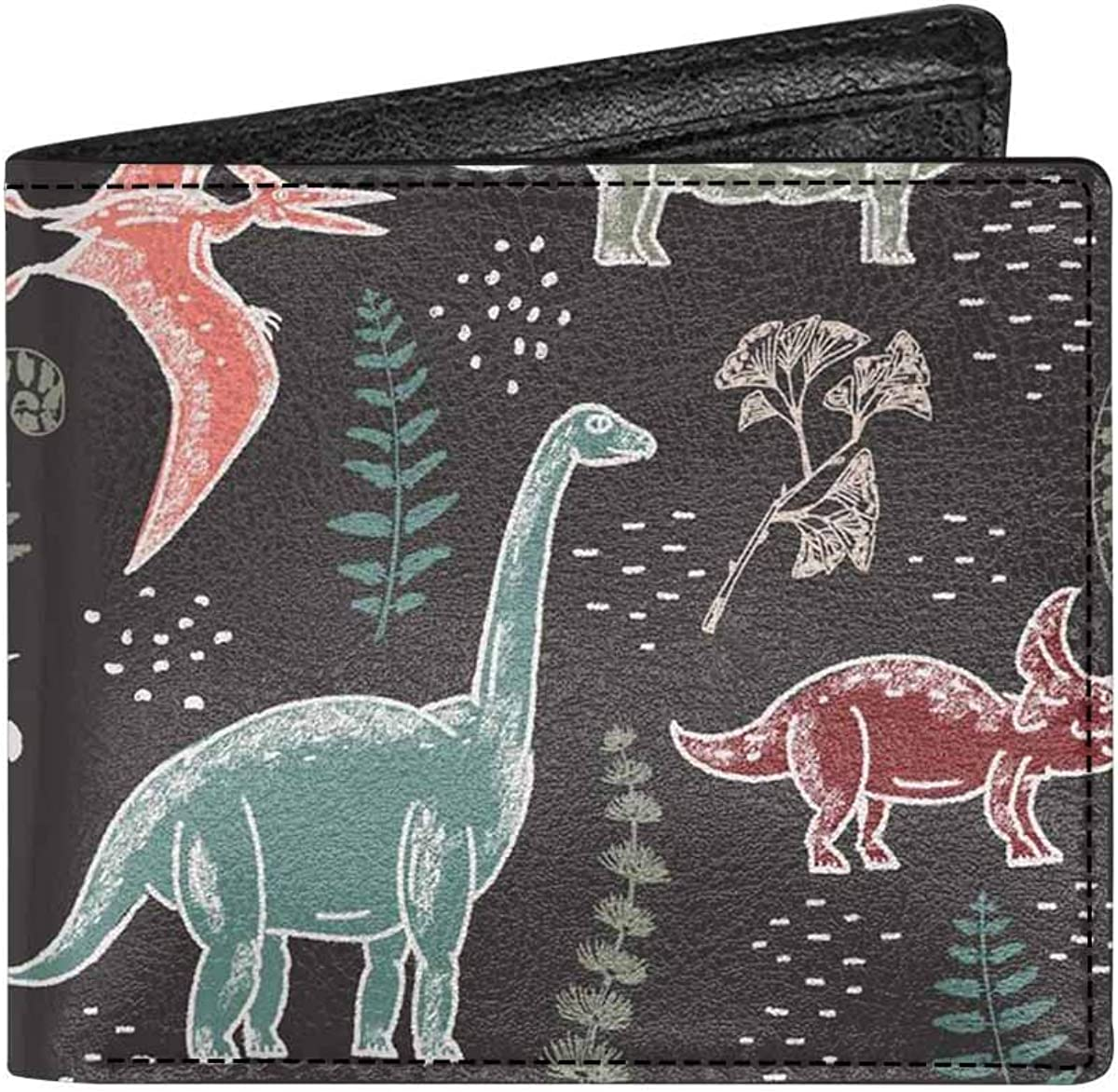 INTERESTPRINT Dark Leaves Unisex PU Leather Bifold Wallet With Coin Pocket and ID Window
