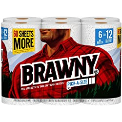 Brawny Paper Towels, 6 XL Rolls, Pick-a-Size, 6 = 12 Regular Rolls