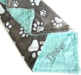 Personalized Pet Blanket, Personalized Minky Dog Blanket, Paw Print Blanket