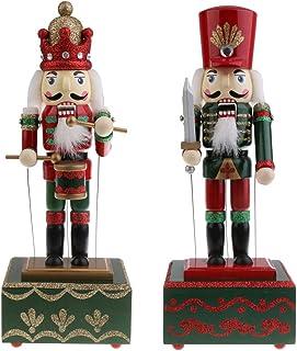 Generic 2pcs Wooden Nutcracker Music Box Tabletop Ornament Decorations