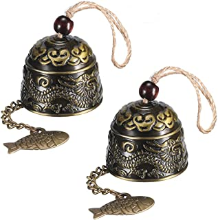 Feng shui Bell 2PCS Chinese Style Good Luck Bronze Bell Outdoor Bell Wind Chime for Cafe Car Home Decoration