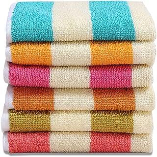 HSR Collection 100% Cotton Soft Towel Set of 6 Pieces, 450 GSM - 6 Face Towels - Multicolor
