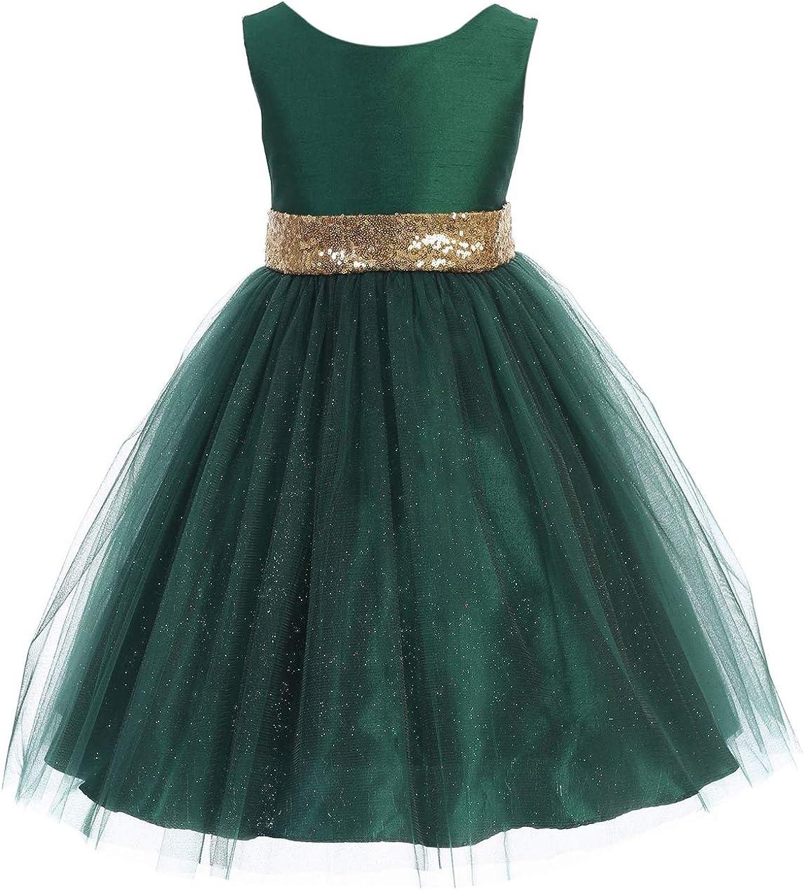 Girl Special Occasion Dress Sleeveless Dupioni Bodice V Sequin Back