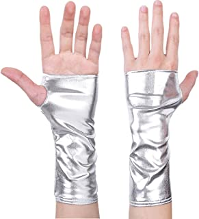 Freebily Damen Glänzend Handschuhe aus Lackleder Wetlook Mini Metallic Optik Halb Fingerlose Handschuhe für Party Kostüm