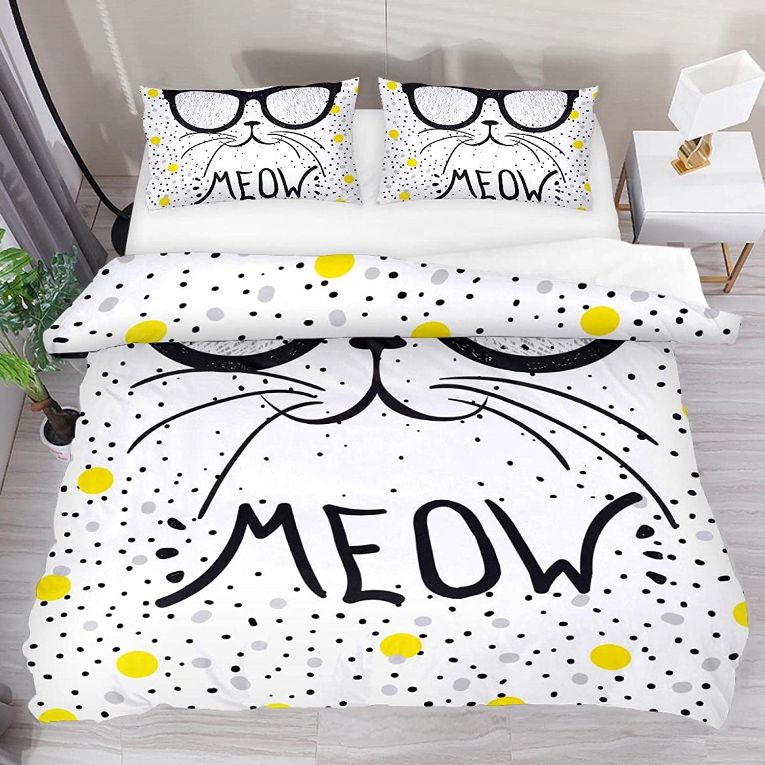 Josid Queen Bedding Duvet Cover 3 Piece Cat Now free shipping Animal Quilt Max 47% OFF Set Co