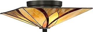 Quoizel TFAS1615VA Asheville Tiffany Flush Mount Ceiling Lighting, 2-Light, 120 Watts, Valiant Bronze (7