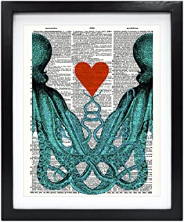 Susie Arts 8X10 Unframed Octopus couple in love Octopus Red heart Upcycled Vintage Dictionary Art Print Eco Friendly Book Art Print Home Decor Wall Art V137