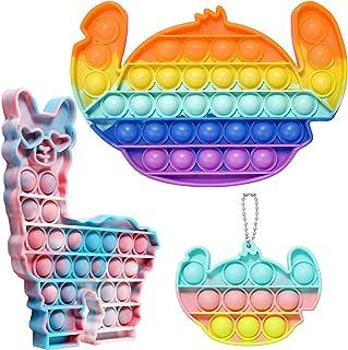 EVERMARKET Stitch Llama Push Pop Bubbles Fidget Sensory Toys, Including 1 Pack Camouflage Alpaca Pop Bubble Fidget Toy 2 P...