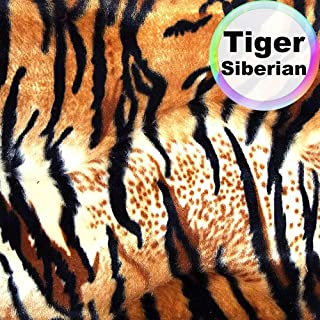 Barcelonetta | Animal Print Fur Fabric | Velboa Fabric | Faux Animal Fur | Short Pile | Animal Texture | 62'' Inch Wide | DIY Crafts, Decoration, Upholstery (Tiger Siberian, 1 Yard)