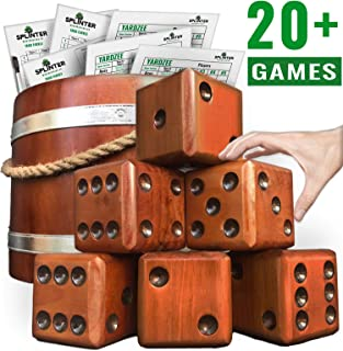 Splinter Woodworking Co Yardzee, Farkle & 20+ Games - Giant Yard Dice Set (All Weather) with Wooden Bucket, 5 Big Laminated Score Cards, and Dry Erase Marker - Jumbo Backyard Lawn Games