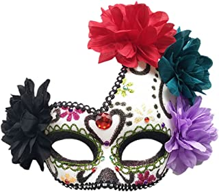 Women's Masquerade Mask Mexican Day of The Dead Sugar Skull Eyemask Masque Fancy Dress