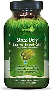 Irwin Naturals Stress-Defy Healthy Stress Response Support Supplement - Relax Body & Mind with GABA, Rhodiola, Skull Cap &...